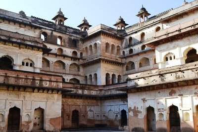 Inside the Raja Mahal in Orchha
