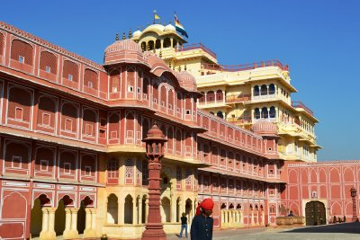 Inside the City Palace courtyard in Jaipur