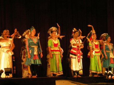 The colourful costumes of the female Kandyan Dancers