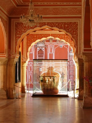 One of the two pure silver jars in the City Palace in Jaipur