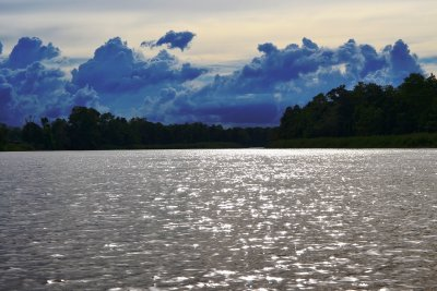 The sun starts to set and the clouds roll in as we bid farewell to the Kinabatangan River