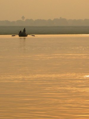 Golden glow on the Ganges at sunrise