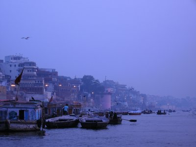 Varanasi glows blue just before sunrise