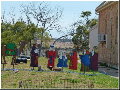 Christmas cut-outs near the old church