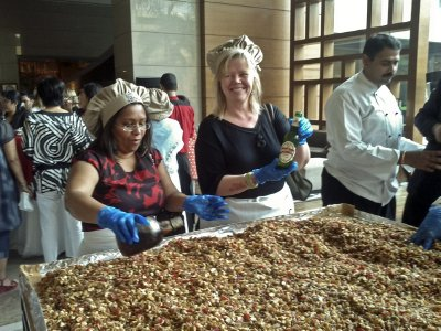 Making Christmas cake at the Gurgaon Crowne Plaza