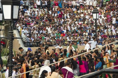 Indians partying at the Pakistan Wagah border Ceremony