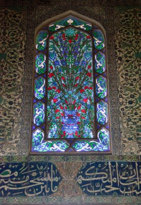 Intricate tile and glass work in Topkapi