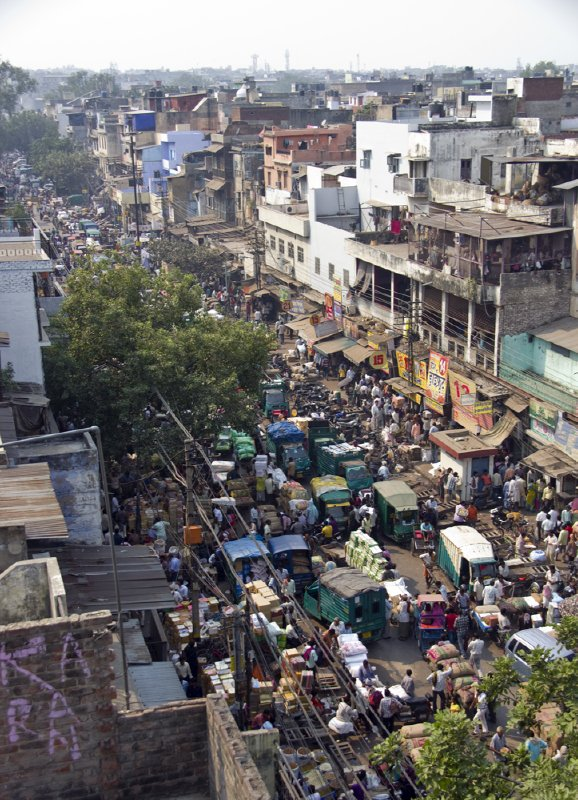 Looking down at the spice market in Old Delhi