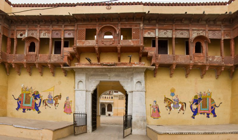 Wedding paintings for Jai's marriage last November on the entry gate to Chanoud Garh