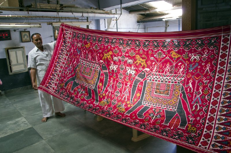One of the most famous and difficult double ikat sari patterns