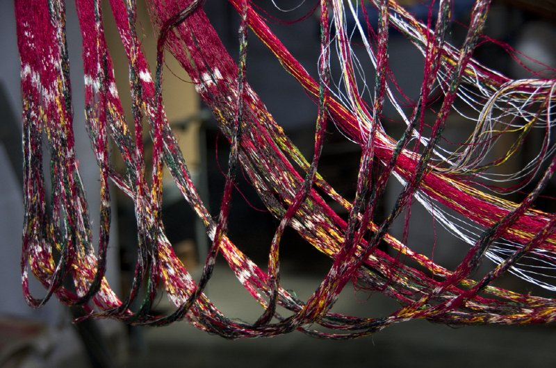 Dyed threads ready for weaving
