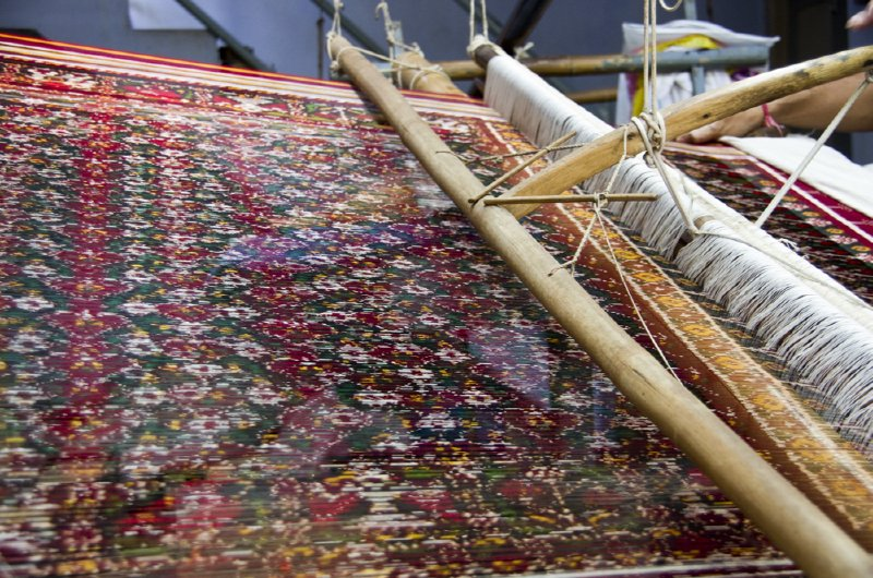 Patan Patola sari warp threads