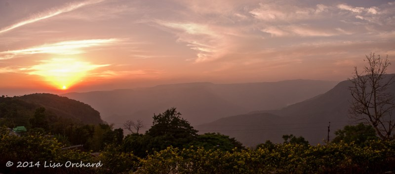 Sunset over the Khasi Hills, from Cherrapunjee Holiday Resort