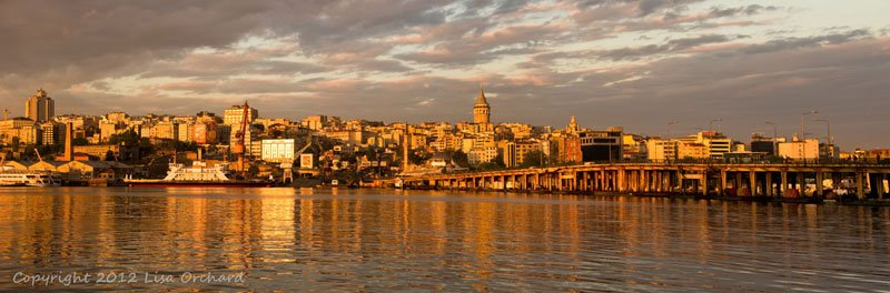 Istanbul reflecting the golden sunset on the Bosphorus