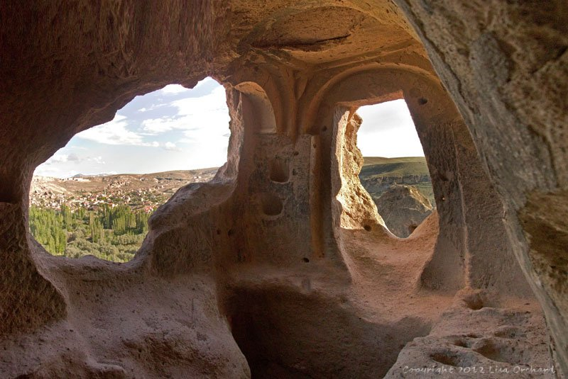 Looking out from a cave cell in Selime