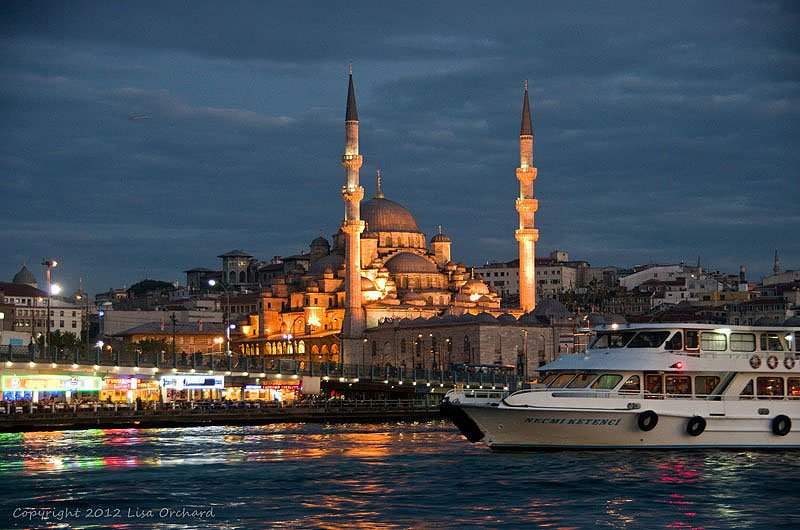 Istanbul lit up as we depart on our Bospherus cruise