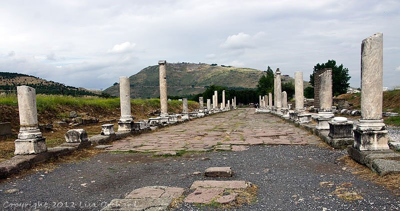 Roman Bazaar Street (The Sacred Way), leading from the Asklepion to Pergamum on the hill, you can see the theatre near the top