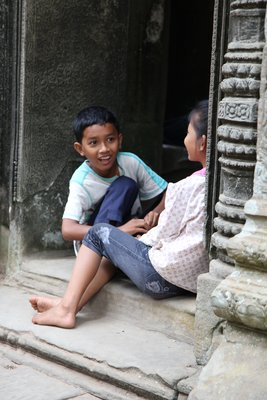 Children playing in the ruins of Ta Phrom