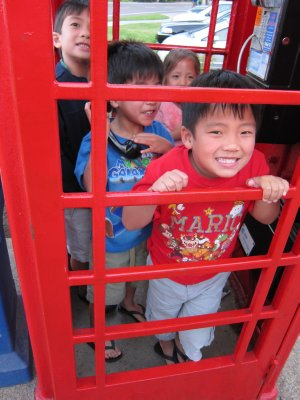 Crammed in the Phone booth