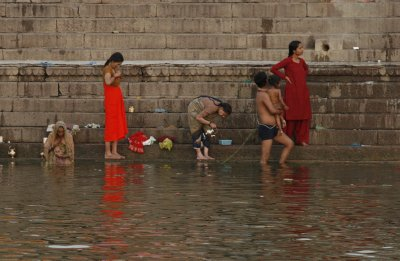 Family Bathing on the Ganges River