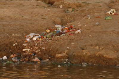 Trash Along the Ganges River