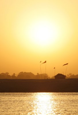 Hut at Sunrise Along the Ganges River