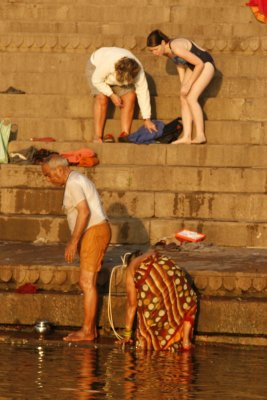 Foreigners Bathing in the Ganges