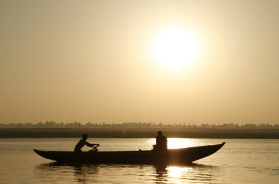 Boat on the Ganges at Sunrise