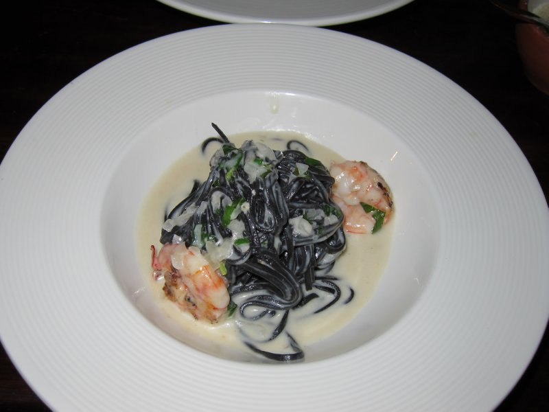 Squid Ink Tagliatelle with Shrimp and Thai Coconut Milk Sauce