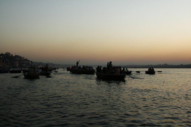 Boat Rides on the Ganges River in the Morning