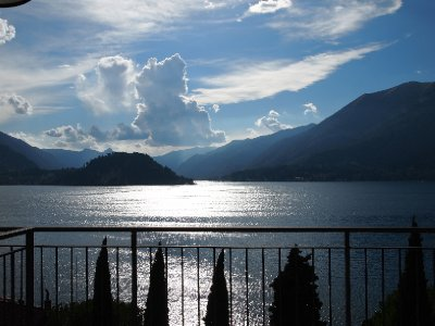 Late afternoon on our balcony - Varenna.