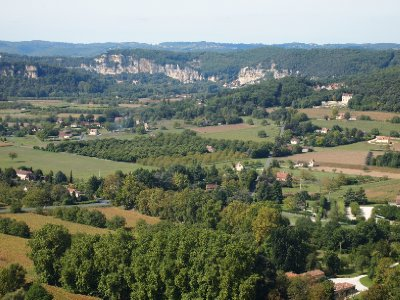 View of Dordogne countryside taken from the clifftop village of Domme.