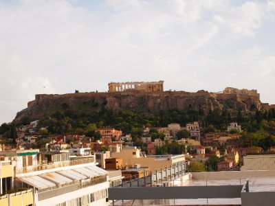 View of the Acropolis from the Roof Garden of our hotel in Athens.