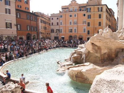 The Trevi Fountain - a favourite with tourists.