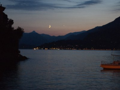 Moon set over Lake Como.