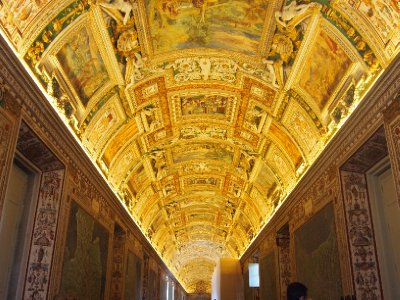 One of numerous ornate ceilings in the Vatican Museums.