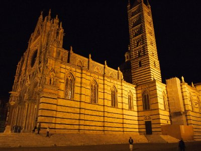 Siena's Duomo under lights.
