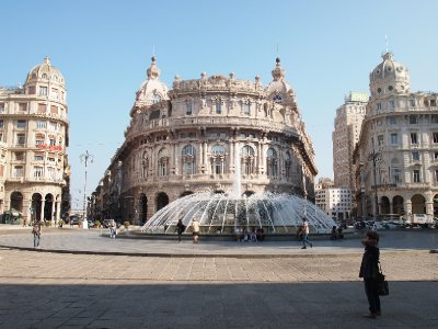 The fountain in Genoa's main square.