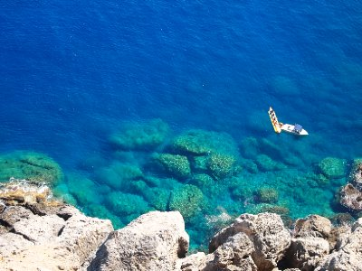 The pristine waters of Lindos.