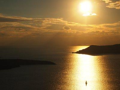 Sunset over Santorini.