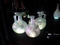 Ancient glassware on display in the Underwater Museum in Bodrum.