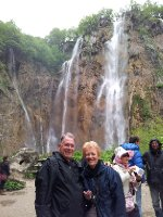 Red and Anne at the foot of the main waterfall at Plitvice - Croatia - 78 metres high.