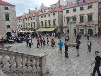 One of the Squares inside Dubrovnik Old City. Anne is standing to the right.