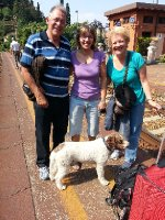 Antonella, Lago, Red and I - a farewell on the platform at Varenna Train Station.