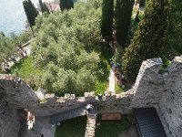 Looking down on the Vezio Castle walls - from the tower.