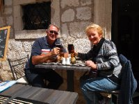 Enjoying lunch and a Leffe Beer - Dubrovnik.