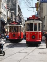Historic trams in Istanbul's main mall.