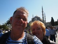 Selfie - outside the Blue Mosque.