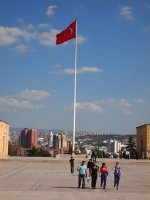 Turkish flag - flying at Ataturk's Mausoleum. The flag pole was donated to the Turks by the USA.
