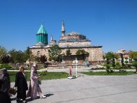 The distinctive green-tiled dome of the Mevlana Museum in Konya.